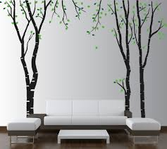 >large wall birch tree decal forest kids vinyl sticker removable with  birch tree wall decal with leaves 1119 jpg