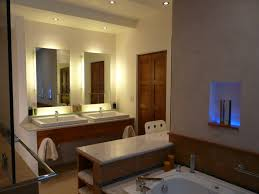 bathroom lighting options. Bathroom Lighting Ideas. Led Vanity With Two Frameless Mirrors Above Double Sink And Options