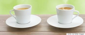 two coffee cups with coffee. Plain Coffee Two Cups Of Coffee And Two Coffee Cups With U
