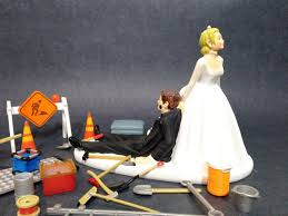 No Construction Work Funny Wedding Cake Topper Bride Dragging