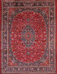 9 7 x 12 7 hand knotted semi antique red persian mashad oriental area rug 12980468