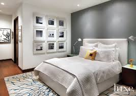 White Master Bedroom With Gray Accent Wall - Luxe Interiors + Design