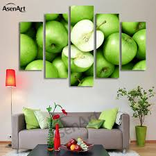 5 panel wall art green apple picture fruit painting for kitchen wall decor canvas prints artwork