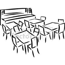 table clipart black and white. black and white outline of a room with tables chairs table clipart