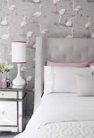 Pink and Gray Teen Girl Bedroom with Pink Flamingos Wallpaper