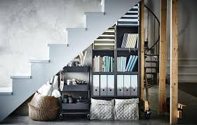 ikea office supplies. Ikea Stair Shelves Home Office Supplies Are Stored Under A Staircase In Basket Trolley