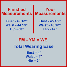 Pattern Ease Chart How To Calculate Wearing Ease For A Better Fitting Plus Size