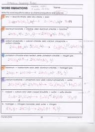 save balancing chemical equations word equations worksheet answers