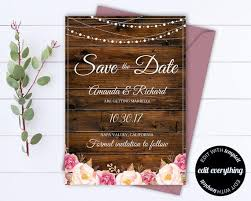 Rustic Save The Date Wedding Template Country Save The Date Card Southern Save The Date Invite Printable Save Date Save Our Date
