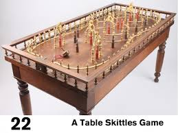 Old Fashioned Wooden Games Auction for antique skittles table or Toupie Hollandaise 37