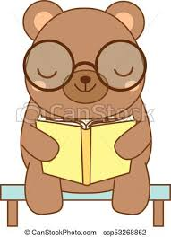 cute bear reading book cartoon character for kids toddlers and es fashion
