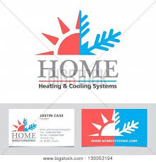 heating cooling icon. heating \u0026 cooling systems business icon card vector template. brand visualization