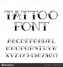 Tetování Písmo Retro Styl Abeceda Písmena A čísla Stock Vektor