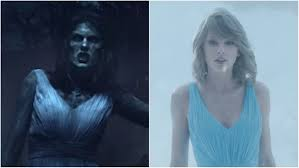 in the early scenes of her video swift dons full body makeup to appear like a zombie as she drags herself out of a grave she also wears something