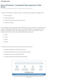 Quiz Worksheet Comparable Sales Approach In Real Estate