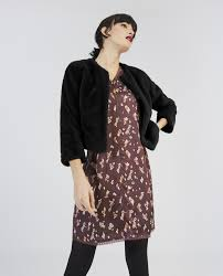 short faux fur coat long sleeve furry black loading zoom