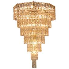 seven tier crystal beads rods brass chandelier for