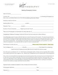 Photographers Contract Template Simple Wedding Photography Portrait
