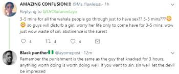 5 minutes to ms lol nigerians react to a doctors comment that 3 5 minutes sex is