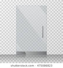 glass door texture. Transparent Clear Glass Door Isolated On Checkered Background. Mock Up Entrance For Shop Texture O