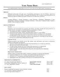 Resume Template Military Experience