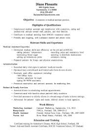Sample Resume For Medical Assistant With No Experience Examples Of