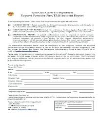 Fire Incident Report Format Department Form Gallery Fire