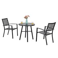 Phi Villa Outdoor Patio Metal Bistro Chairs And Round Table