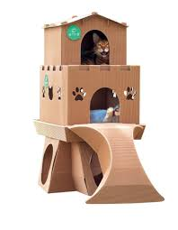 Diy cat playhouse Kittens Easy Assembly No Glue Or Tape Required Composed Of Nontoxic Ecofriendly And Safe Corrugated Paper Material Accommodates Cat Weight Up To 18kg Amazinghome Malaysia Castle Diy Meow House Cardboard Corrugated Paper Cat Playground