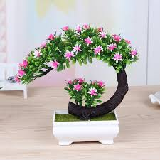 bonsai tree for office. Half Moon Flower Bonsai Tree In Square Pot - Artificial Plant Office/Home Decor | EBay For Office