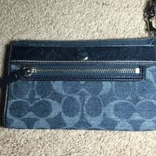 HP Coach Denim Signature Zippy Wallet (F50871) NWOT   . Large Coach wristlet