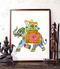 Small Picture Traditional Elephant Watercolor Painting Indian Elephant Wall Art
