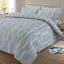 dreamscene ellipse duvet cover with pillow case reversible geometric bedding set teal green grey silver single