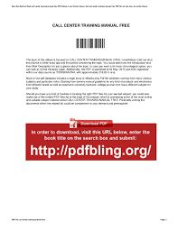 Bpo Training Material Free Download Call Center Training Manual Free