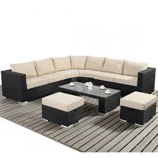 round corner rattan sofa set with white mattress and rectangular wood coffee table for modern living room design ideas