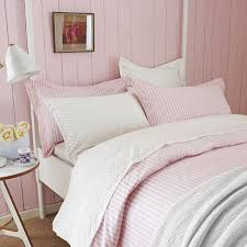 pink and white striped bedding