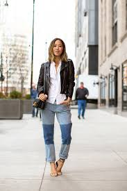 leather jacket and patchwork boyfriend jeans