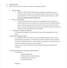 Example Speech Adorable Example Of Extemporaneous Speech Outline Introduction Template Self