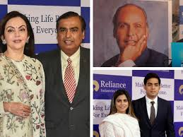 clockwise from left nita and mukesh ambani dhirubhai ambani akash and isha