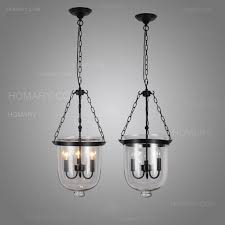 retro rustic clear glass bell jar pendant light with 3 candle lights zoom