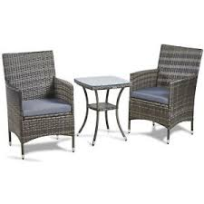 outdoor table and chair sets. VonHaus 3 Piece Rattan Bistro Set Outdoor Glass-topped Table \u0026 Chairs For Garden And Chair Sets
