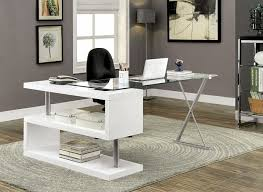 furniture of america cm dk6131wh bronwen collection white finish wood and glass top l shaped convertible desk