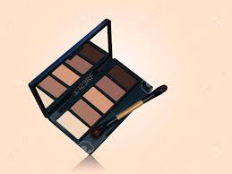 eye shadow palette mockup brown color tone makeup tools isolated on plexion background in 3d