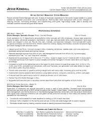 District Manager Resume Objective Camelotarticles Com