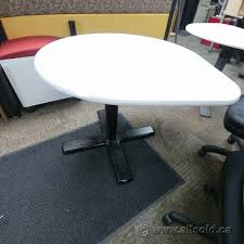 tear drop 3 4 round table white top grey or black base