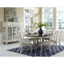 hilale pine island 7 piece round dining set in old white