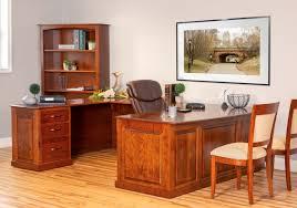 executive desk with bridge and credenza