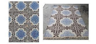 design your own rug lisbon blue black tiles flatweave indoor outdoor all weather rug recycled plastic