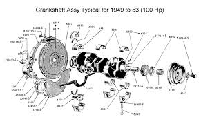 flathead parts drawings engines crankshaft flywheel assy for 1949 to