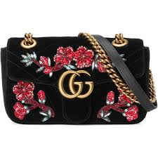 gucci bags 2017 black. gucci gg marmont embroidered velvet mini bag found on polyvore featuring bags, handbags, black bags 2017